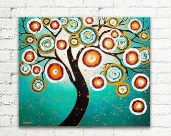 ON SALE Tree of Life Turquoise Painting Whimsical Art Wall Decor Christmas Gift 20x24