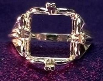 Sterling Silver ~ 13x13mm SQUARE/ CUSHION ~ Regalle Ring setting / Mounting ~ Custom sized from 5 to size 12 ~ to be ordered ~ #840 ~ FDK