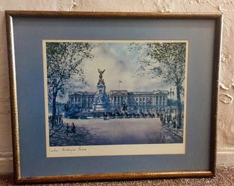 H. Moss London Print - Buckingham palace print - architecture print - Europe - home decor - framed - castle - horses - England - troppobella