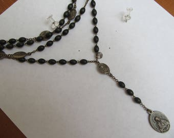Danusharose Vintage Authentic ALL ORIGINAL Super Old Patina on Silver and Copper or Brass Our Lady of Sorrows Hard to Find  Rosary