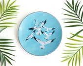 Mid Century Modern Enamel Copper Seagull Dish by Annemarie Davidson / Mid Century Enamel Dish / Vintage Enamel Seagull Plate / Beach Decor