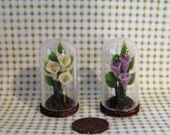 Dollhouse Floral ornament,  cloche, terrarium, , Garden ornament,  conservatory plant, Garden, 1/12th scale, a dollshouse miniature