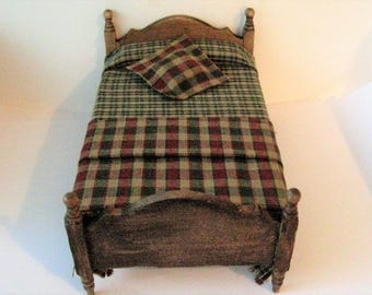 Dollhouse Bed ,Single bed,  country style bed, childs bed, Homespun spread, dollhouse miniature, dark oak, twelfth scale,