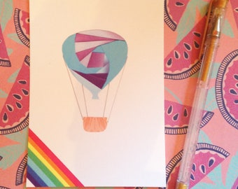 Hot Air Balloon - postcard print of original iris folded artwork - measures 6x4 / 15x10