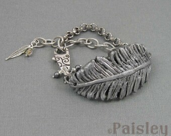 Silver feather bracelet, rustic polymer clay feather on antiqued silver chain with lobster clasp