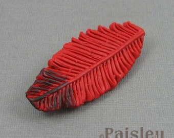 Cardinal Feather Brooch, red black polymer clay feather with locking pin back