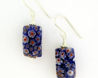 Red, White, and Blue Millefiore Glass Earrings
