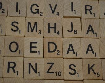 Vintage SCRABBLE wood letter tiles 100