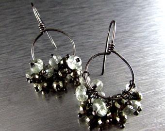 Green Amethyst and Pyrite Oxidized Sterling Hoop Earrings