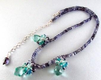 20 Off Aqua Quartz Cluster and Iolite Gemstone Necklace