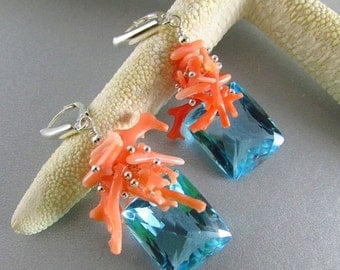 25% Off Blue Topaz With Coral Braches And Sterling Silver Lever Back Earrings