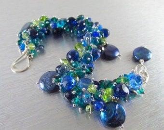 25 % OFF Blue Pearl and Gemstone Cluster Sterling Silver Bracelet