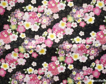 Japanese Kimono Fabric - Sakura Cherry Blossoms on Black - Fat Quarter (no20161110)