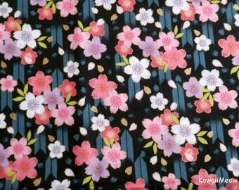 "Scrap / Japanese Kimono Fabric - Arrow Pattern Sakura Cherry Blossoms on Black - 110cm x 52cm(43""W x 20.5""L) (nu170418)"