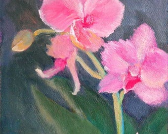 "Pink Orchid Painting, Small Oil Painting,  Floral Still Life, Small Flower Painting, 6x6"" Oil Painting on Panel"