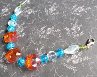 Beaded Haori Himo for Kimono Kitsuke - KimonoHIME Japanese Haori Himo OOAK - Orange Blue Crystal Haori Himo