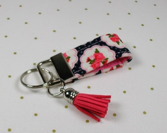 Mini Key Fob with Tassel, Mini Key Fob with Tassel, Mini Fabric Key Fob, Posy Garden, Posy Scallop Navy