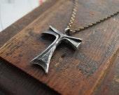 New  Design TAU Cross Jesus Open  Heart . Tau Cross solid pewter.  metal Jewelry tau cross francis franciscan Tau cross