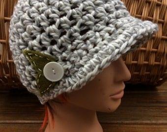 Grey and White Crocheted Peak Hat 92/16