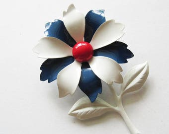 Vintage Red White and Blue Enamel Flower  Pin