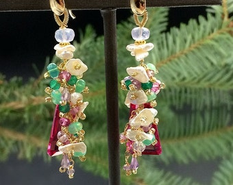 Pink Tourmaline Quartz Earrings Colorful Gem Opal Cluster Earring 14kt Gold Fill Chain Dangle Boho Chic Pink Green Pastel Cluster Earring