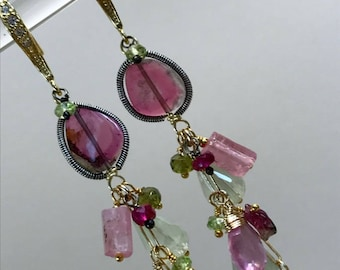 Watermelon Tourmaline Slice Long Dangle Earrings 14kt Gold Fill Ruby, Pink Sapphire and Prehnite Multicolor Gemstone Long Boho Chic Earrings