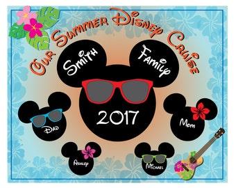 Disney Inspired 8 x 10 Summer Beach Time Family Magnet for Disney Cruise