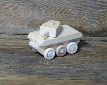Mini Wood Toy Sherman Tank Wooden Toys WW2 Handmade Eco friendly natural kids childs boys birthday present gift