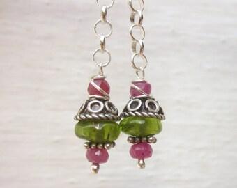 Chain dangle earrings, pink sapphire & peridot gemstone earrings, sterling silver drop earrings, bohemian jewelry, boho chic dangle earrings