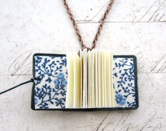 Petite Floral - Handbound Recycled Miniature Black Leather Note Book or Sketchbook Necklace with Gift Box