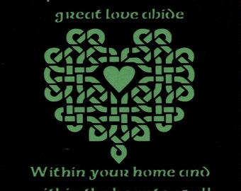 Irish Blessing...May Grace of God's Protection Blessing Celtic Knot Heart Paper Cut Wall Art Wall Decor 8X10 Unframed