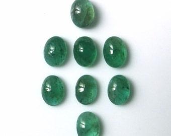 Emerald - one genuine natural 8 x 6 mm cabochon gemstone - green oval cab - natural unheated untreated Zambia Africa - small medium gem 86E