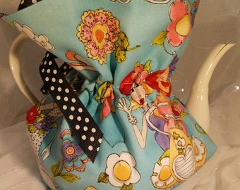 Insulated Tea Cozy~Beautiful Blue Loralei Design Teapot Cozy~6 Cup Teapot Cozy~Blue Aqua Garden Ladies Tea Cozy