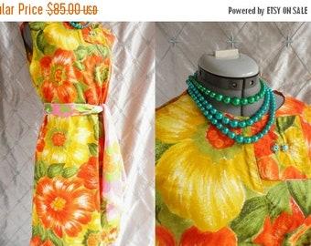 VINTAGE SALE 60s Dress // Vintage 1960s Orange Yellow and Green Floral Dress Size L Xl