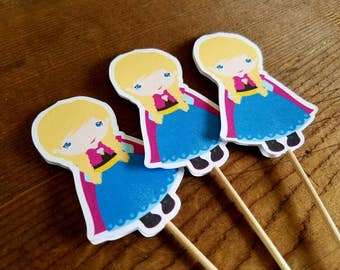 Frozen Friends Party - Set of 12 Snow Princess Double Sided Cupcake Toppers by The Birthday House