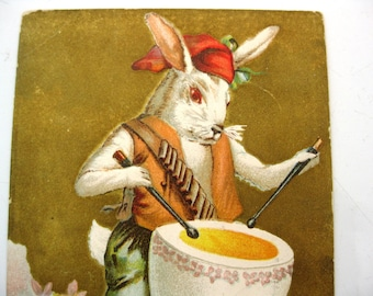 Vintage Easter Postcard, Fantasy Bunny Rabbit Humanized Dressed In Clothing, Standing, Beating Egg Drum