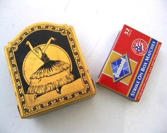 Small Vintage Metal Match Holder, Spanish Dancer, Deco Moorish Design