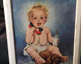 Vintage Framed print  -Hello DADDY - Florence Kroger