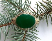 Vintage Sterling Chrysoprase Marcasite Brooch Marked Germany