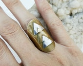 Brass and Sterling Triangle Adjustable Ring