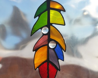 Handmade Stained Glass Colorful Feather Suncatcher