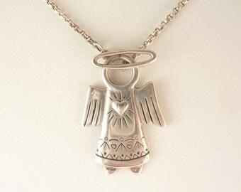 Vintage Sterling Halo Toggle Angel Necklace
