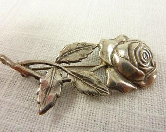 Vintage Sterling Rose Brooch