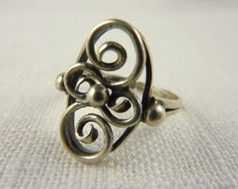 Vintage Danish Sterling Adjustable Ring Size 8.5