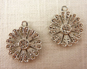 Vintage Pair of Deco Sterling Marcasite Charms