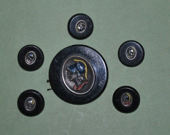 Vintage Set Metal Cameo on Black Plastic Buttons