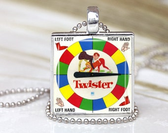 Vintage TWISTER SPINNER Game Board Altered Art Photo Under GLASS Pendant Charm Necklace