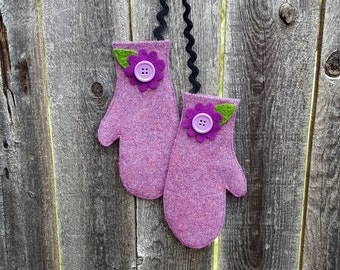 Rescued Wool Mitten Ornaments -Matching Pair in Plum Heather Wool  - recycled wool by alicia todd - great for Secret Santa