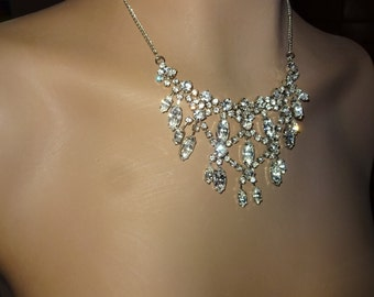 Rhinestone necklace, 2 AVAILABLE Price is for one, BRIDESMAID, I have 2, LENGTH can be a customized,'Free' Adjustments/dangle down the back
