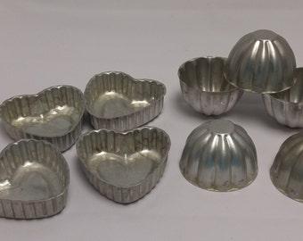9 Mini Tart Pans, Aluminum Molds, Tins, Heart, Bundt for Baking, Soap, Candy #B216